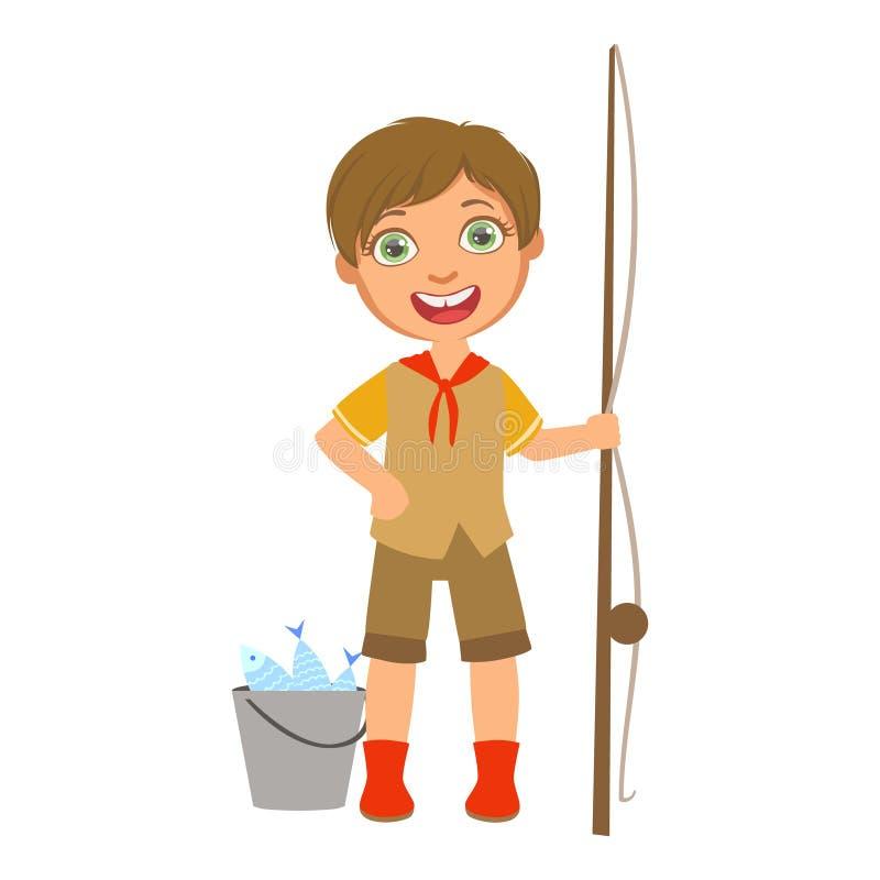 Lycklig pojkscout med en metspö och en hink, ett färgrikt tecken stock illustrationer