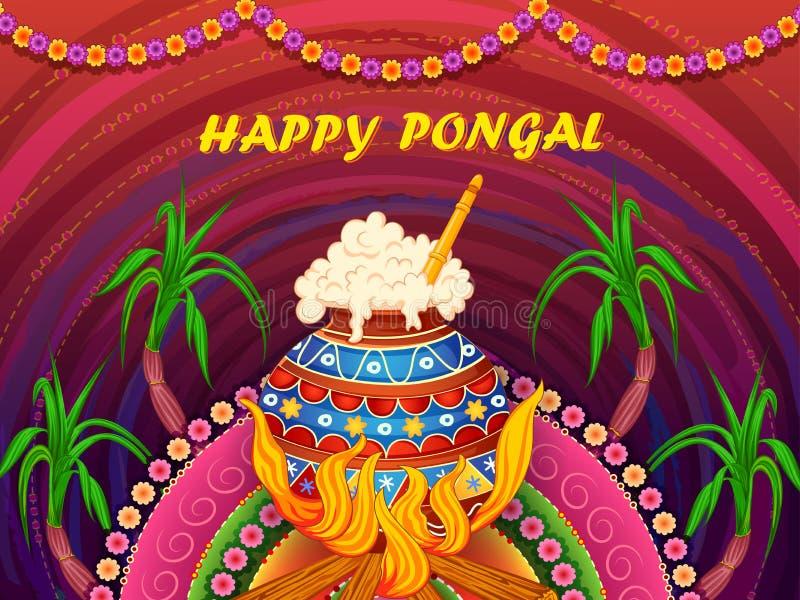 Lycklig Pongal religiös traditionell festival av bakgrund för Tamil NaduIndien beröm royaltyfri illustrationer