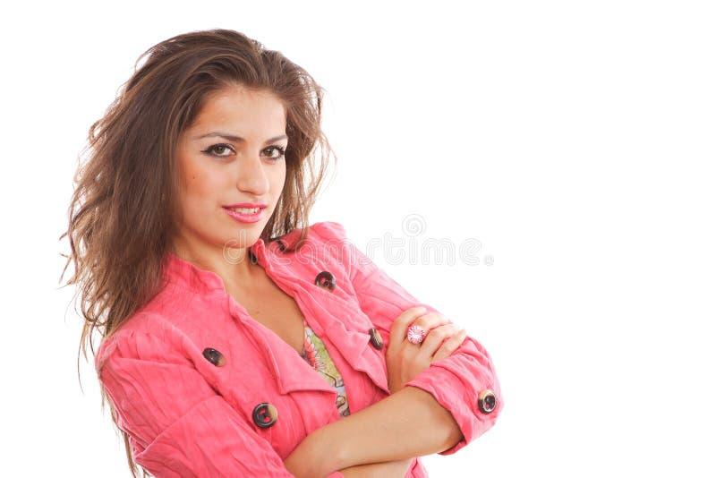 lycklig posera kvinna arkivbild