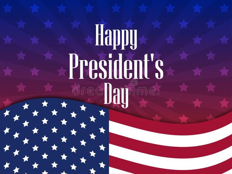 Lycklig presidentdag Festligt baner med amerikanska flaggan och text vektor royaltyfri illustrationer