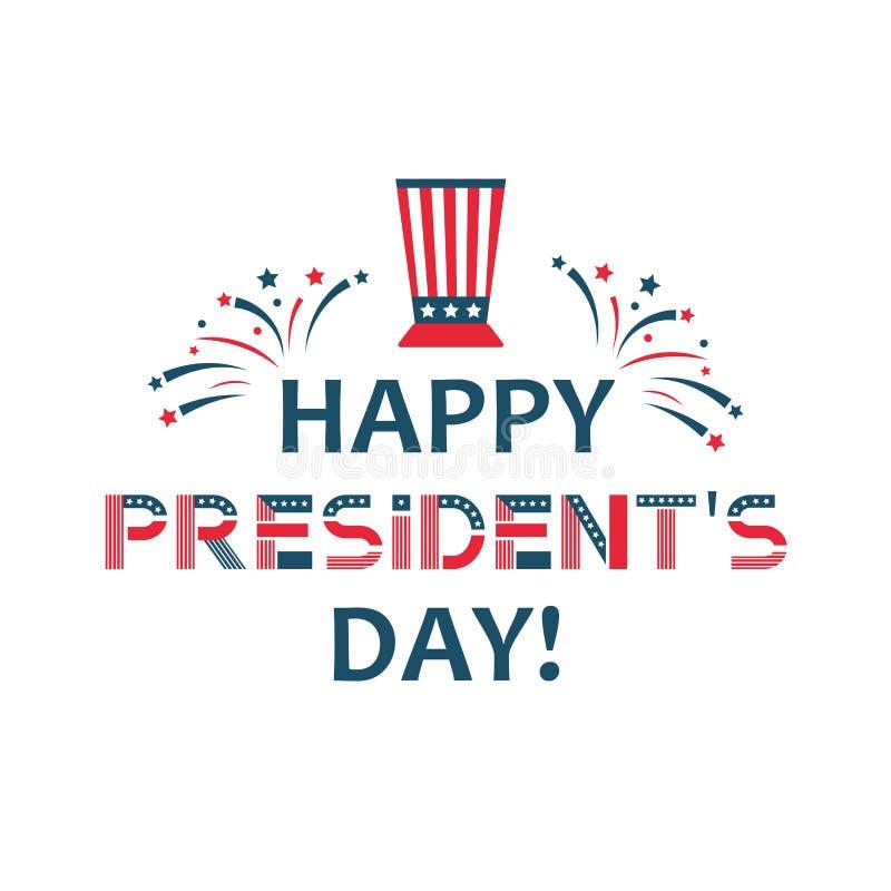 Lycklig presidentdagetikett För ferietappning för Förenta staterna federal affisch, festligt land politiska tredje måndag in royaltyfri illustrationer