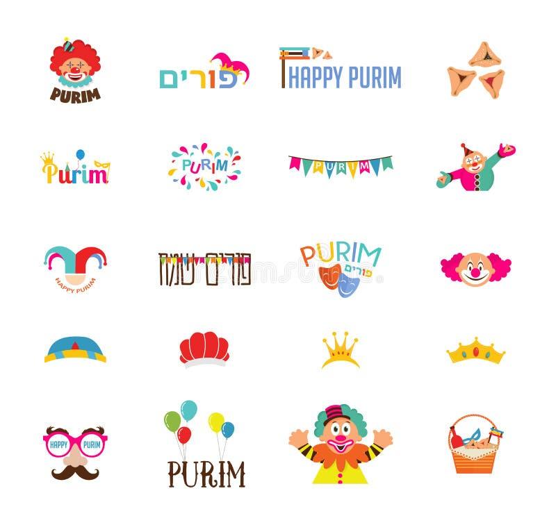 Lycklig purim, judisk ferie traditionella symboler, bokstäver och clowner vektor illustrationer