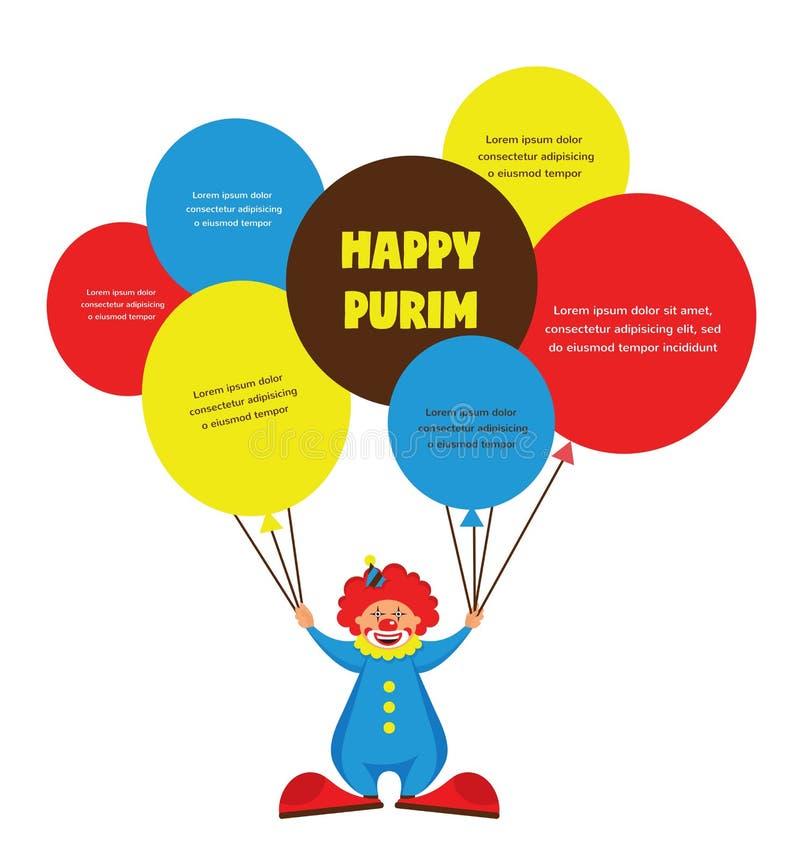 Lycklig purim, judisk ferie vektorillustration av hållande baloons för en clown royaltyfri illustrationer