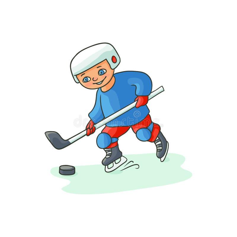 Lycklig pys som spelar hockey, vinteraktivitet stock illustrationer