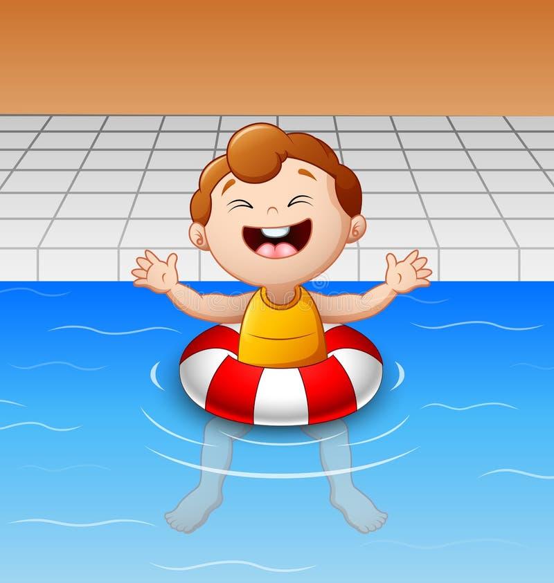 Lycklig pys som svävar i simbassäng med den uppblåsbara cirkeln vektor illustrationer