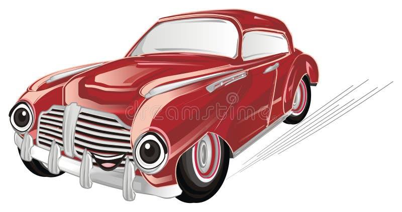 Lycklig röd gammal bil på flyttning royaltyfri illustrationer