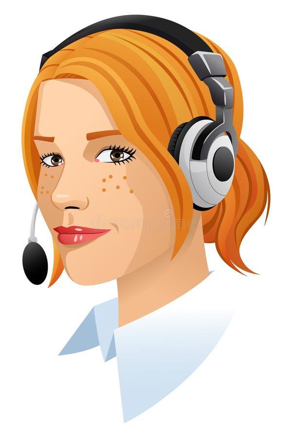 Lycklig röd hårkundtjänstkvinna royaltyfri illustrationer