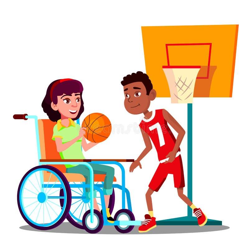 Lycklig rörelsehindrad flicka på rullstolen som spelar basket med vänvektorn isolerad knapphandillustration skjuta s-startkvinnan stock illustrationer