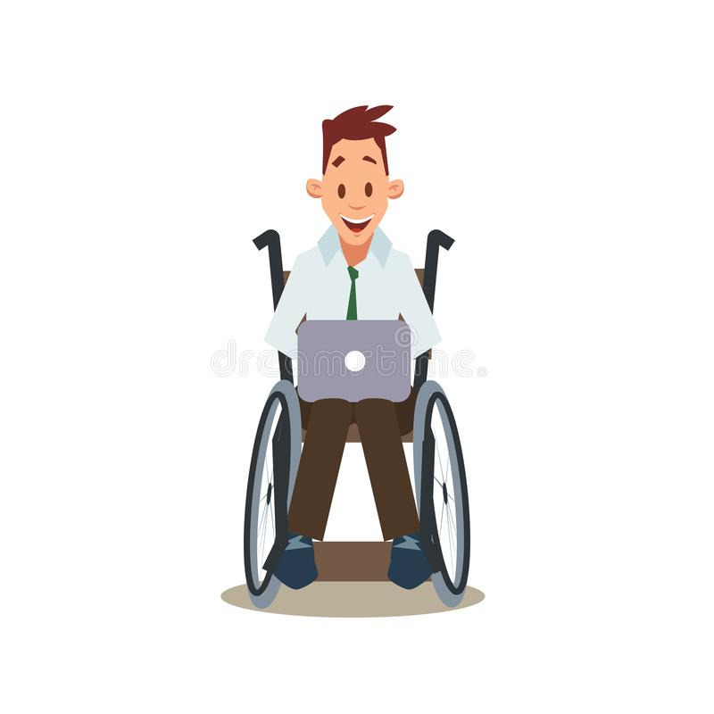 Lycklig rörelsehindrad man i rullstolarbete vid bärbara datorn vektor illustrationer