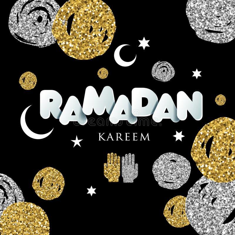 Lycklig Ramadanillustration med berömsymbol av Ramadan vektor illustrationer