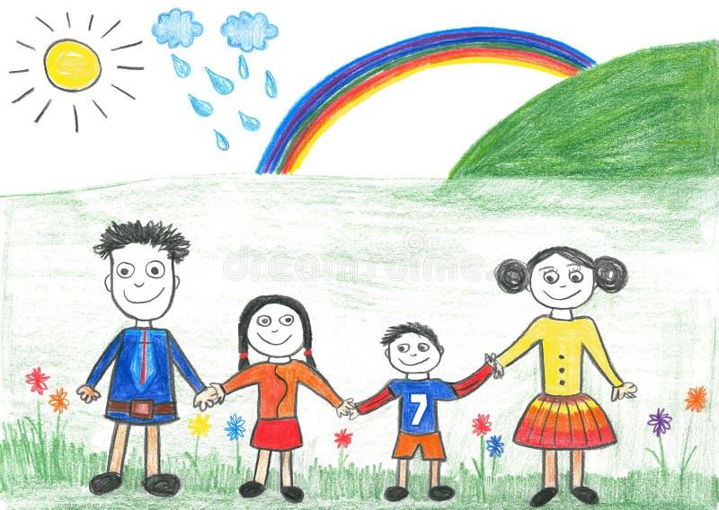 lycklig regnbåge s för barnteckningsfamilj vektor illustrationer