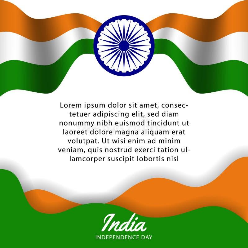 Lycklig reklamblad för mall för Indien självständighetsdagenaffisch med dag för republik för flaggavåg- och hjulparti vektor illustrationer