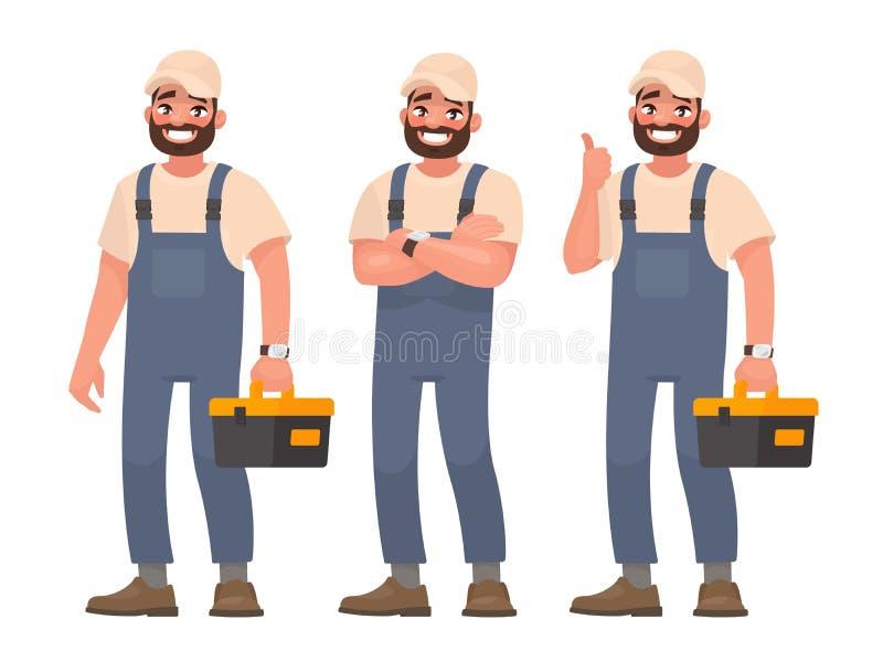 Lycklig repairman eller mekaniker med en toolbox Uppsättning av olikt pos. stock illustrationer