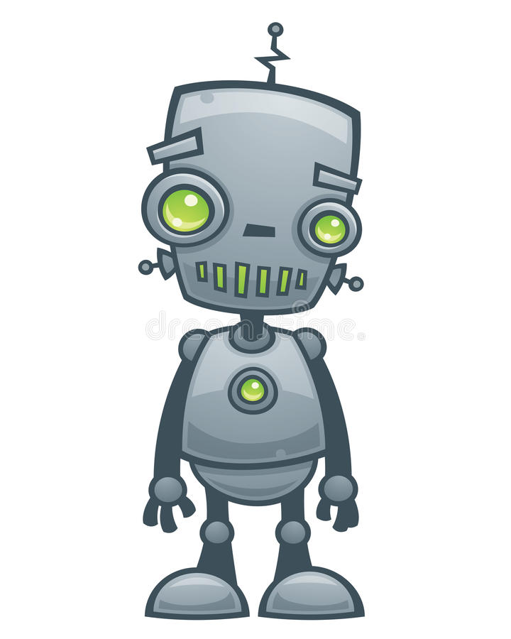 lycklig robot stock illustrationer