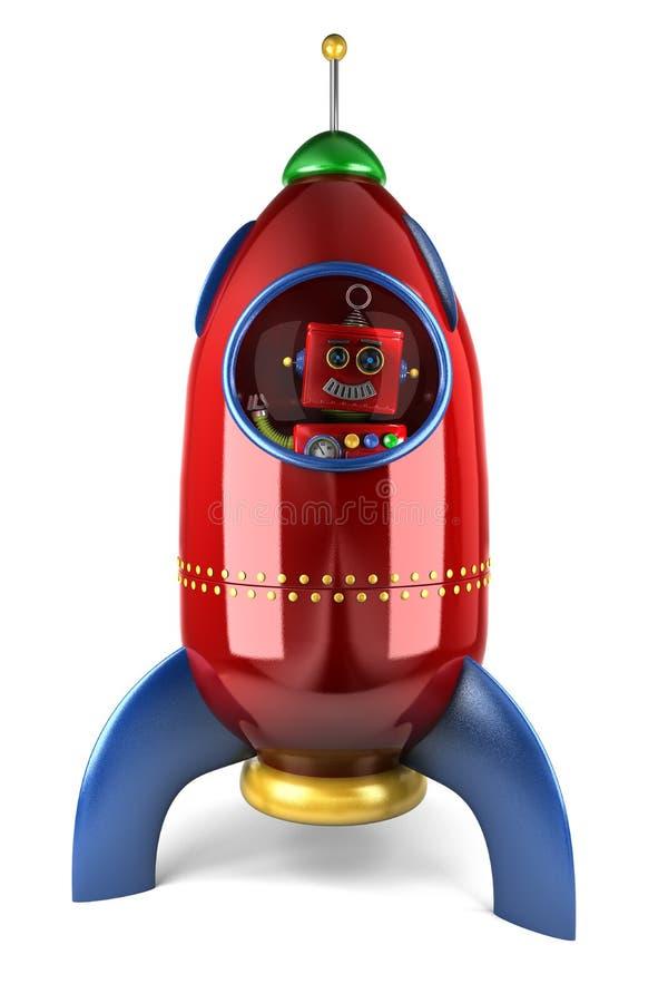 Lycklig robot i raket vektor illustrationer