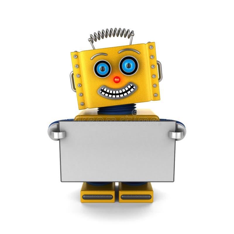 Lycklig robot som rymmer ett tomt tecken stock illustrationer