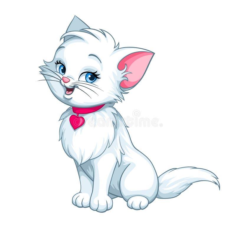 Lycklig rolig gullig vit kattunge för vektortecknad film stock illustrationer