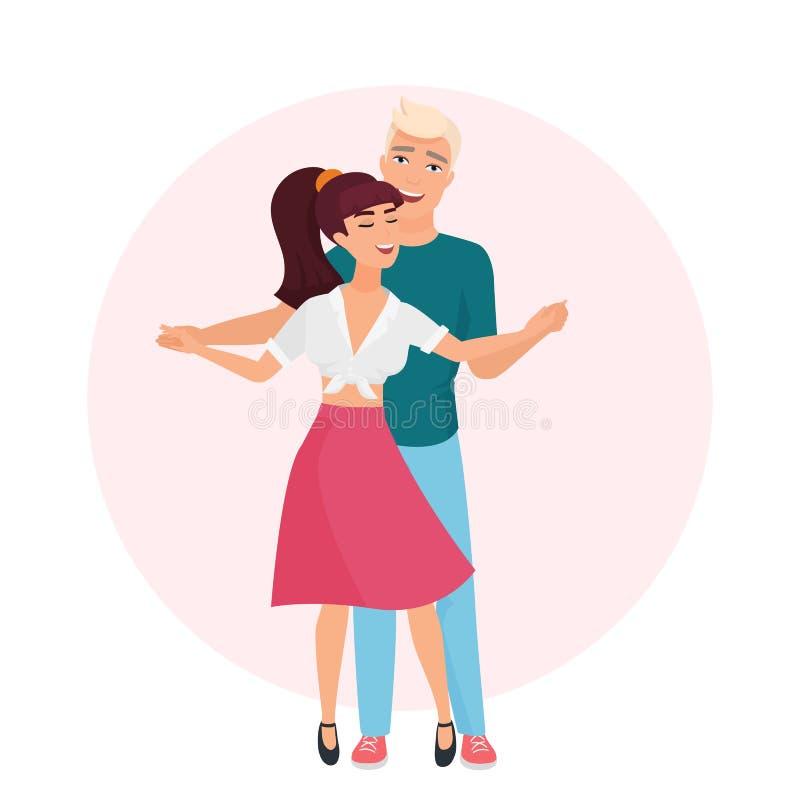 Lycklig romantisk man och kvinna tid tillsammans Koppla ihop den förälskade vektorillustrationen för dansen stock illustrationer