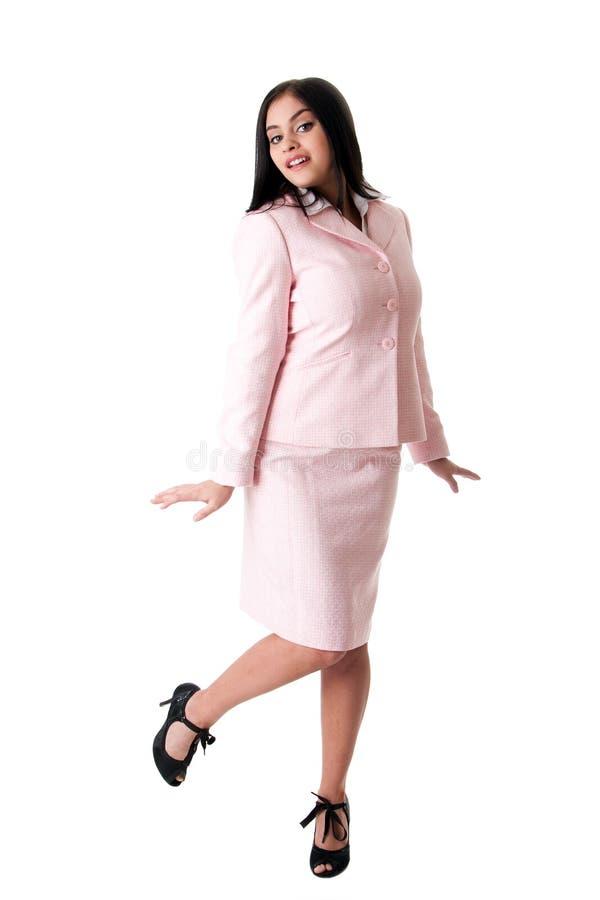 lycklig rosa dräktkvinna för affär arkivbilder