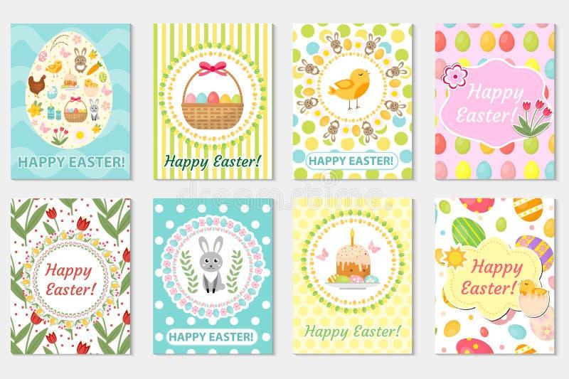 Lycklig samling för påskhälsningkort, reklamblad, affisch Fjädra den gulliga uppsättningen av mallar för din design också vektor  stock illustrationer