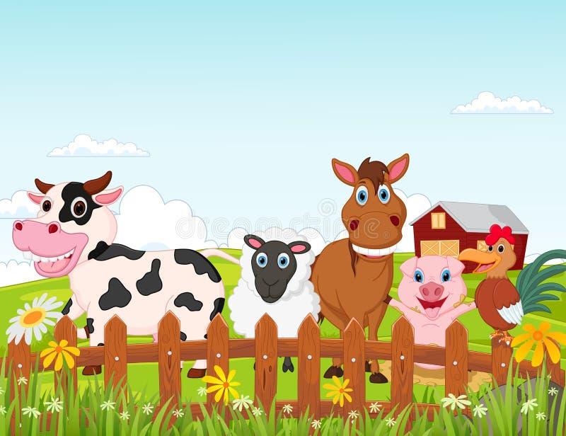 Lycklig samling för tecknad film för lantgårddjur stock illustrationer