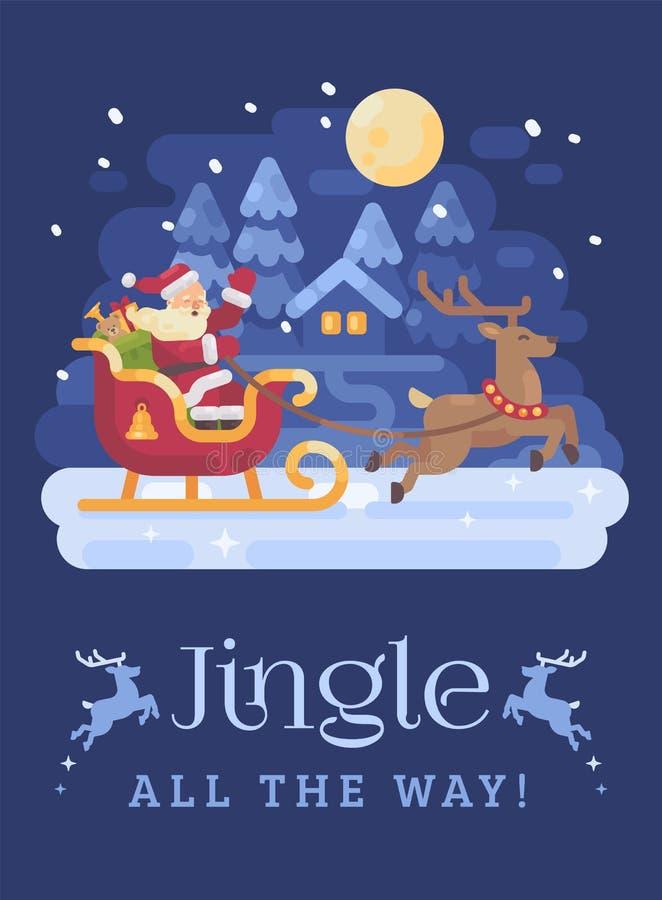 Lycklig Santa Claus ridning i en släde som dras av renen över ett snöig landskap för nattvinterby Jul sänker illustrationen royaltyfri illustrationer