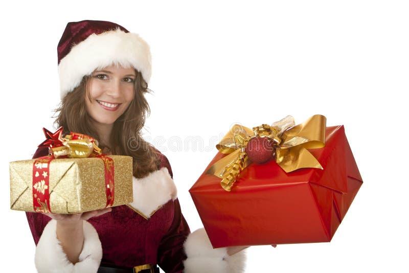 lycklig santa för julclaus gåvor kvinna royaltyfri bild