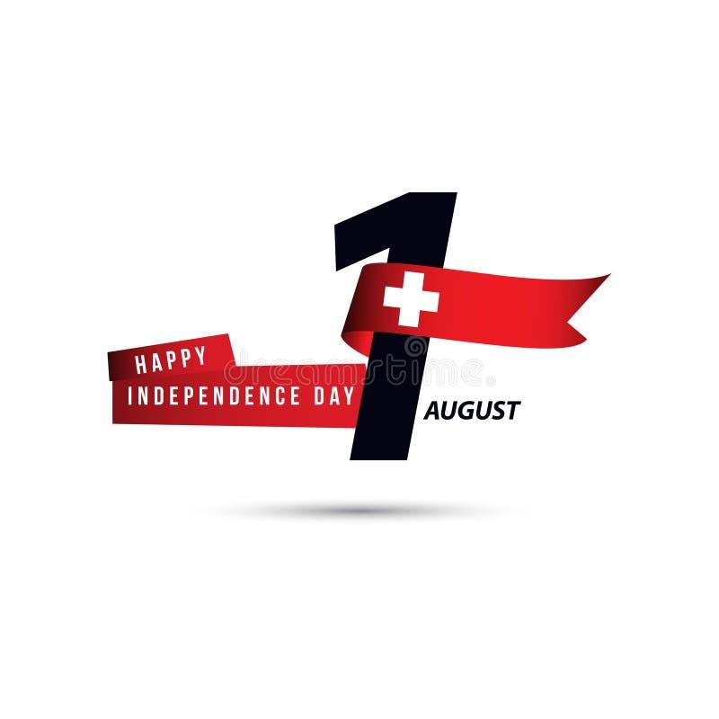 Lycklig Schweiz självständighetsdagen 1 August Vector Template Design royaltyfri illustrationer