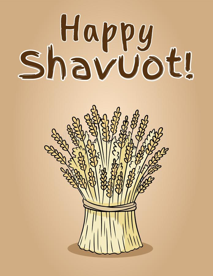 Lycklig Shavuot judisk nationell ferie Kärve av vetepacke arkivbilder