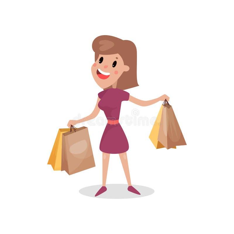Lycklig shopaholic flicka med pappers- shoppingpåsar, skadlig vana och illustrationen för böjelsetecknad filmvektor royaltyfri illustrationer