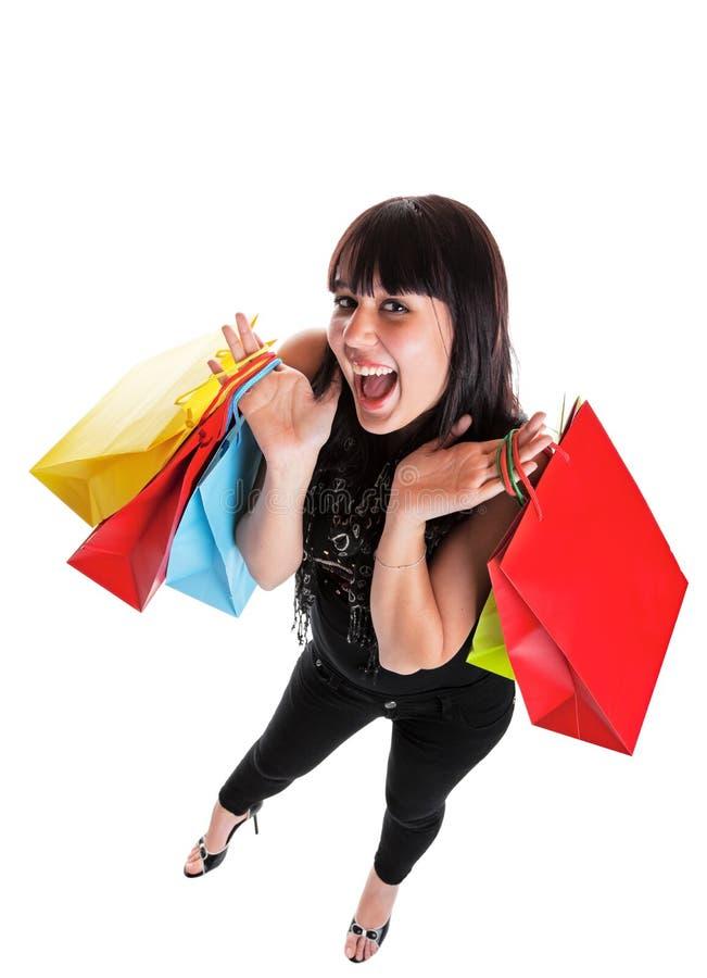 lycklig shoppare arkivbilder