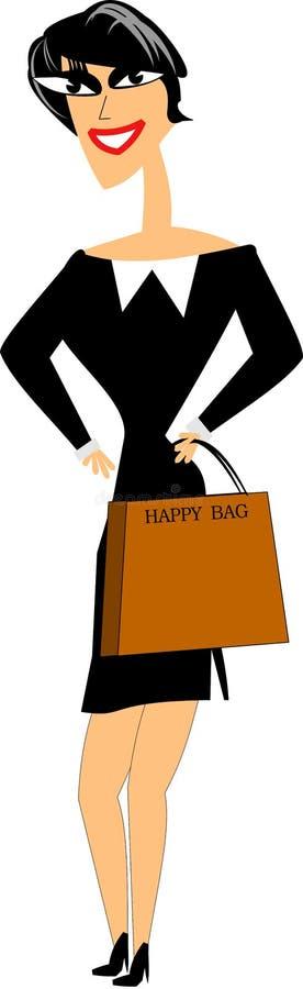 lycklig shoppare royaltyfri illustrationer