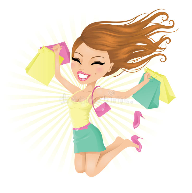 Lycklig shoppare. vektor illustrationer