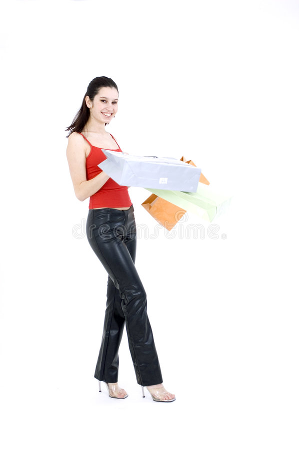 lycklig shoppare arkivfoto