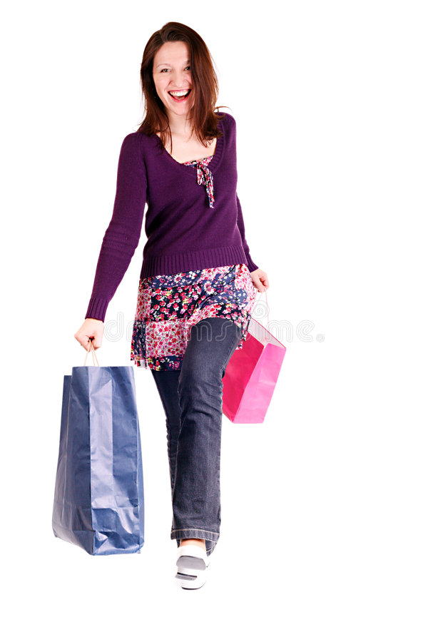lycklig shopparekvinna royaltyfria foton