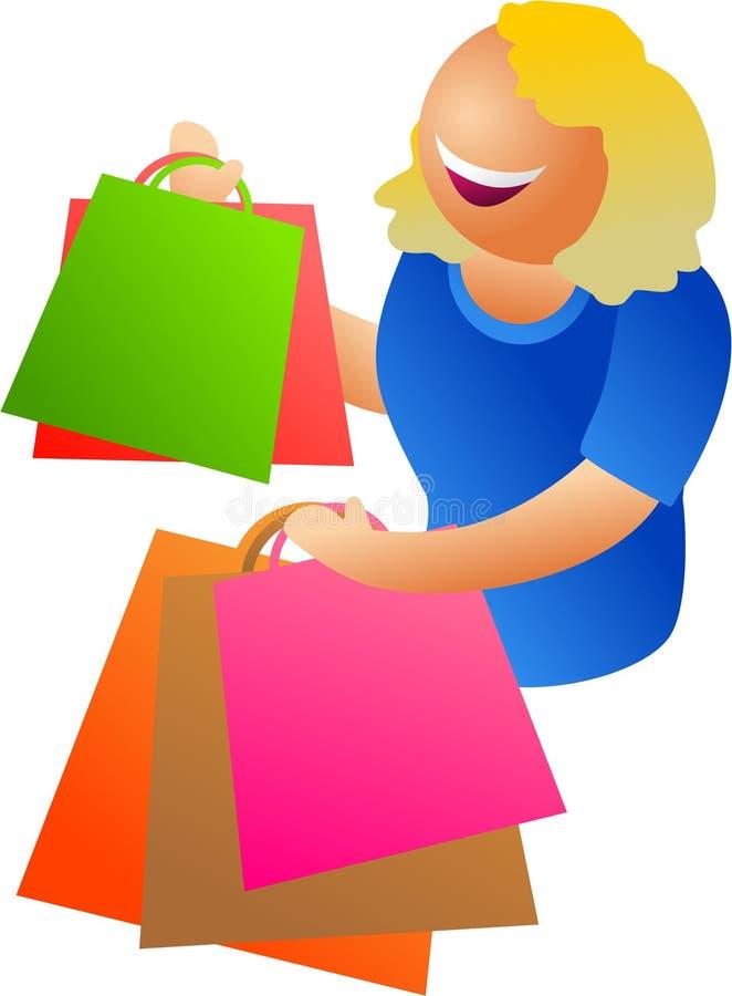 lycklig shopping stock illustrationer