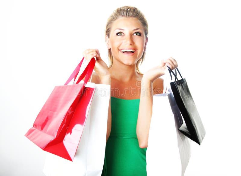 lycklig shopping för flicka arkivfoto