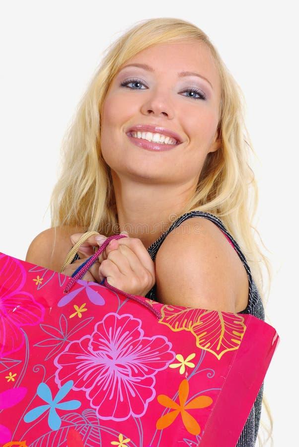 lycklig shoppingkvinna royaltyfri foto