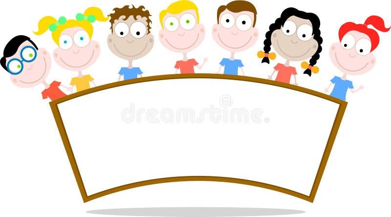 lycklig signboard för barn royaltyfri illustrationer
