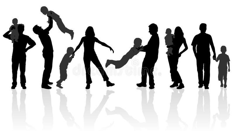 lycklig silhouette för familj stock illustrationer