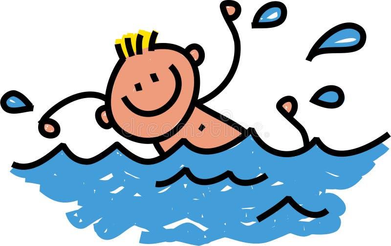 lycklig simning för pojke royaltyfri illustrationer