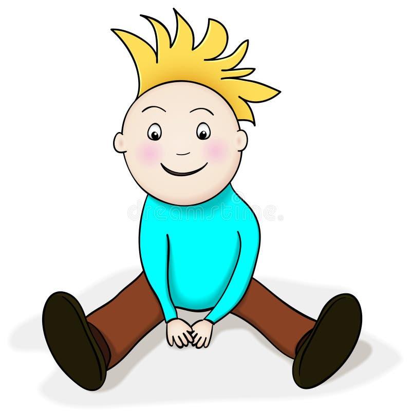 lycklig sitting för pojke vektor illustrationer