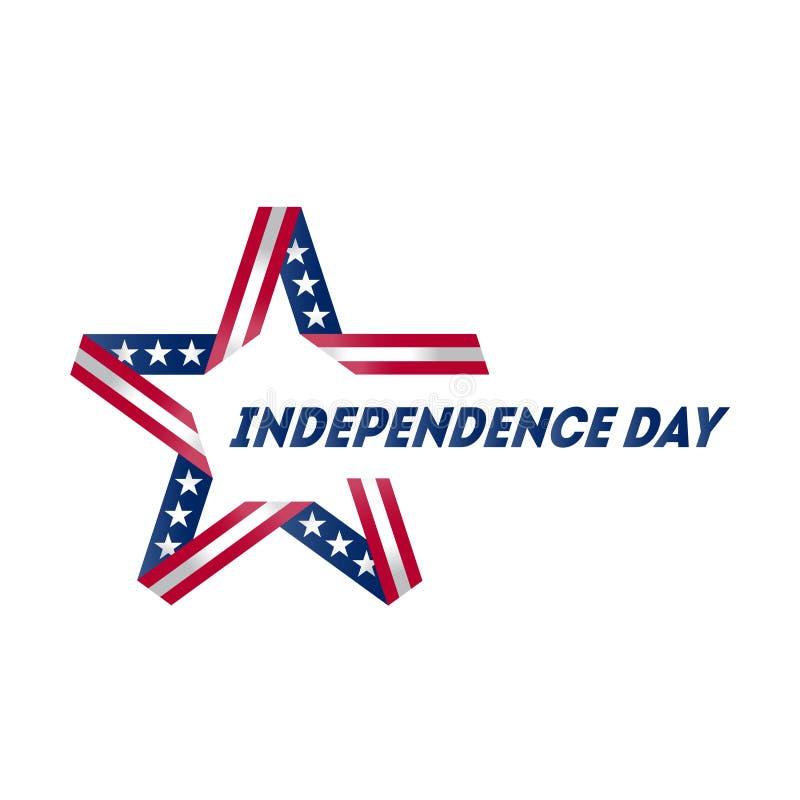 lycklig självständighet för dag Stjärna som göras av band i USA nationsflaggan royaltyfri illustrationer