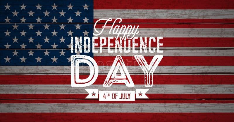 Lycklig självständighetsdagen av USA vektorillustrationen Fjärdedel av den Juli designen med flaggan på Wood bakgrund för tappnin vektor illustrationer