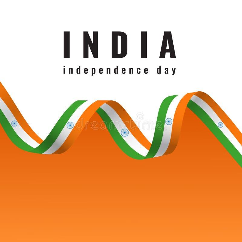 Lycklig självständighetsdagen Indien för indiskt nationsflaggaband royaltyfri illustrationer