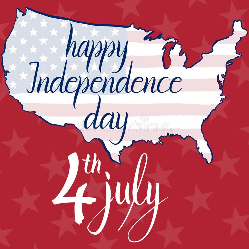 Lycklig självständighetsdagen 4th för inskrift juli, flagga och översikt av Amerikas förenta stater vektor illustrationer