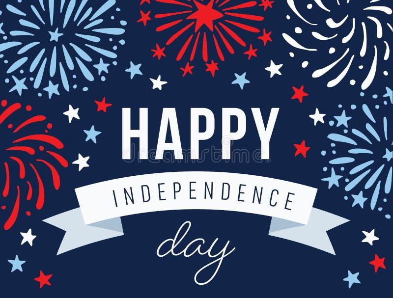 Lycklig självständighetsdagen 4th Juli nationell ferie Festligt hälsningkort, inbjudan med hand drog fyrverkerier i USA stock illustrationer