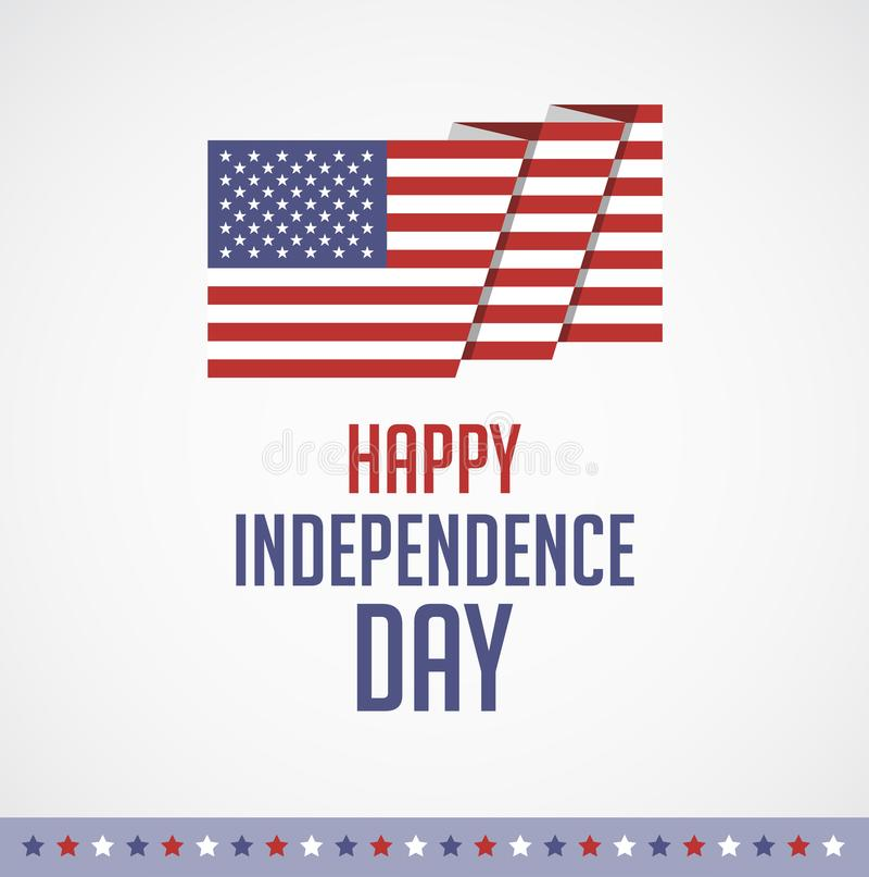 Lycklig självständighetsdagen USA - fjärdedel av vektorn för Juli hälsningkort vektor illustrationer
