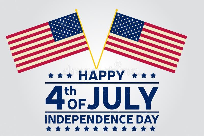 Lycklig självständighetsdagenbakgrundsmall Lycklig 4th av den juli affischen Lyckligt 4th juli och amerikanska flaggan patriotisk stock illustrationer
