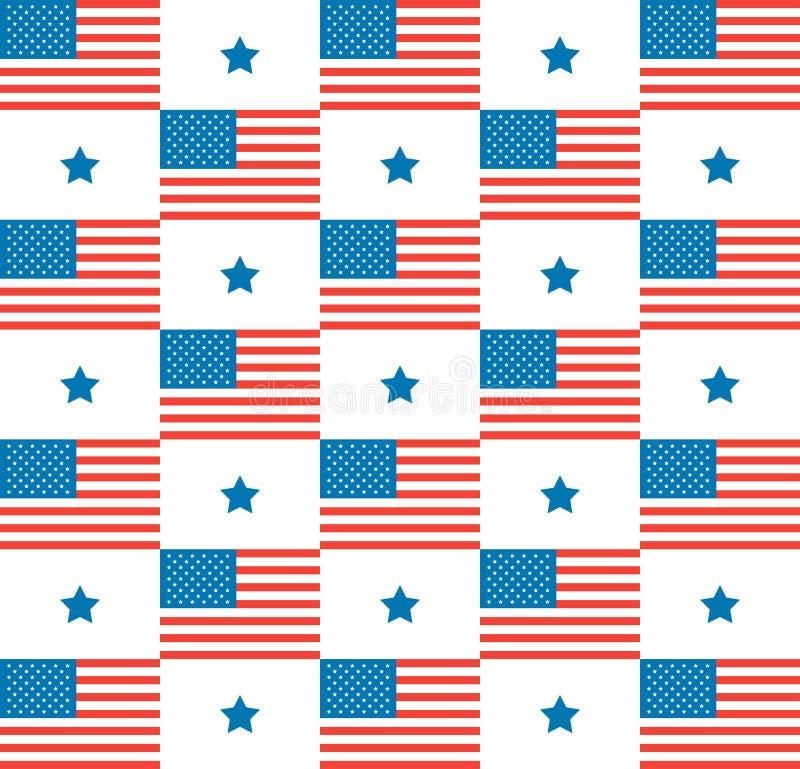 Lycklig självständighetsdagenvektormodell med en amerikanska flaggan och blåa stjärnor på vit bakgrund stock illustrationer